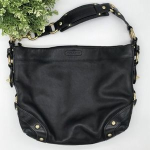 COACH Heritage Collection Carly Leather Hobo Shoulder Bag Purse Black Gold